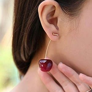 Cherry Drop Earrings 3D in High Gloss Red